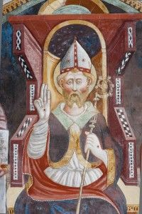 Giovanni e Battista Baschenis - San Valerio - affresco - 1474 - Castel Valer - Cappella di S.Valerio - Tassullo ( Trento, Italia)