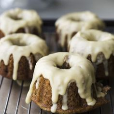 Mini Banana Bundt Cakes with Maple Icing