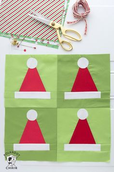 Christmas Crafts : Illustration Description A quilting pattern showing you how to make Santa Hat Quilt blocks that can be turned into cute Christmas Quilt Easy Sewing Projects, Sewing Projects For Beginners, Sewing Hacks, Sewing Tips, Quilting Projects, Quilting Tips, Sewing Patterns Free, Free Sewing, Quilt Patterns