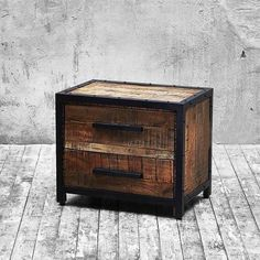 Industrial Metal Trimmed Mango Wood Bedside Table | Buy Wooden Bedside Tables