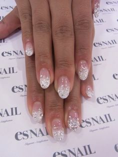 Pretty natural pink to white ombre with crystal
