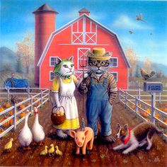 """Feline Farming"" Painted by Don Roth, a Kool-Kat version of Grant Woods painting ""American Gothic"". Prints available on web site."