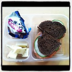 Healthy Work Lunch Idea    Turkey, cucumber and grainy mustard on pumpernickel sided with pepper jack and skinny cow dreamy clusters.