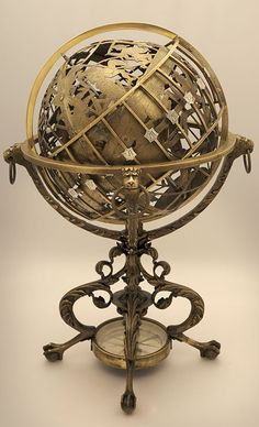 Image props - Mechanical celestial and terrestrial globe [brunelluschi, in Steampunk Style album Globes Terrestres, World Globes, Steampunk House, Steampunk Diy, Steampunk Clothing, Steampunk Bedroom, Old Maps, Antique Maps, Art Pierre