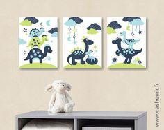 Lot de 3 illustrations pour chambre d'enfant garçon, décoration chambre bébé, réf.64 bleu vert : Chambre d'enfant, de bébé par cashemir