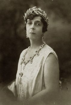 Princess Elena of Greece, Princess Marina's mother, wearing the Greek Ruby Wreath tiara.