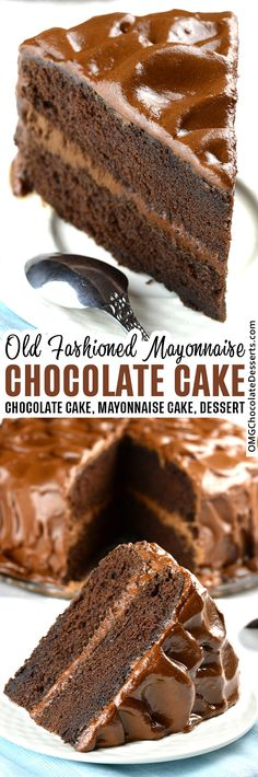 The Best Chocolate Mayonnaise Cake Recipe - You will get lots of indulgent chocolatey goodness with every taste of this mayo cake.#chocolate #mayonnaise #cake Best Chocolate Desserts, Cake Chocolate, No Bake Desserts, Delicious Desserts, Old Fashioned Chocolate Cake, Chocolate Mayonnaise Cake, Classic Desserts, Desert Recipes, Cake Recipes