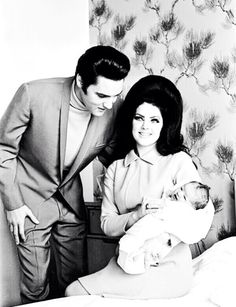 """takingcare-of-business: """"Elvis, Priscilla and newborn Lisa Marie at the Baptist Memorial Hospital in Memphis, TN, February 5, 1968. """""""