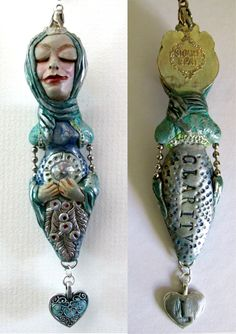 """CLARITY - Art doll pendant 3"""". """"Clarity comes to us when we engage with our inner """"Intuitive Wise Woman"""" by Linda Carmichael NZ"""