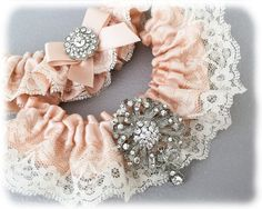 Ivory Lace Wedding Garter Set, Blush Wedding Garter. Blush Bridal Garter Set, Lace Garter Set, Blush Garter Set by GarterQueen on Etsy