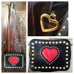Vintage Moschino soft buttery waxed leather red heart bag.. By Redwall Minimal wear to leather no rips or worn out areas.. Some tarnishing to golden