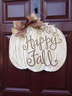 Pumpkin Door Hanger/Fall Door Hanger/The Gilded Polka Dot Thanksgiving Crafts, Fall Crafts, Halloween Crafts, Thanksgiving Decorations, Fall Halloween, Burlap Door Hangers, Fall Door Hangers, Wooden Pumpkins, Painted Pumpkins