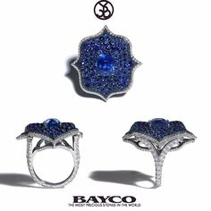 """Our Monochrome Lotus ring set with finest sapphires and diamond micropavé. #Bayco #BaycoJewels #BeautifulBayco #TheMostPreciousStonesInTheWorld #Gemstones…"""