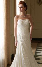 Mermaid Floor Length Strapless Dress White Destination Wedding Gowns 1116 Beads