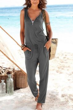 The v neck collar sleeveless slim jumpsuit with pocket is a good choice of fashion in summer and it suits many casual occasions. jumpsuit casual,jumpsuit outfit work,how to wear jumpsuit,casual jumpsuit outfit fall Jumpsuit Outfit, Casual Jumpsuit, Summer Jumpsuit, Elegant Jumpsuit, Pant Jumpsuit, Mode Outfits, Fashion Outfits, Women's Fashion, Latest Fashion