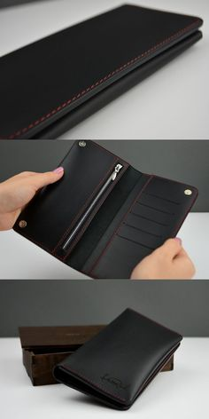 Black long leather wallet for men Personalized Custom Handcrafted holder for phone Quality handmade accessories Engraving mens organizer - Beutel Ideen Personalized Leather Wallet, Handmade Leather Wallet, Leather Accessories, Handmade Accessories, Real Leather, Leather Men, Best Leather Wallet, Roger Vivier, Leather Projects