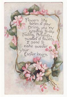 Easter greetings on a vintage postcard Decoupage Vintage, Vintage Ephemera, Vintage Cards, Vintage Postcards, Vintage Images, Vintage Artwork, Vintage Easter, Vintage Holiday, Easter Flowers