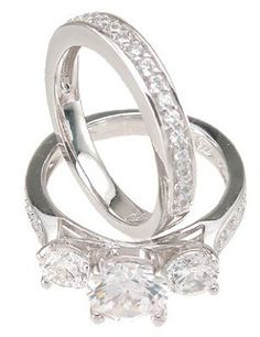 Sterling Silver Cubic Zirconia CZ Three Stone Wedding and Engagement Ring Set Sizes 5 6 7 8 9: Jewelry: Amazon.com