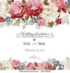 Greeting card with chrysanthemum and peonies, watercolor, can be used as invitation card for wedding, birthday and other holiday and  summer background