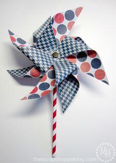 Patriotic Pinwheels {& Double Pinwheel Tutorial} - I LOVE pinwheels!!! via @mmscarpshoppe