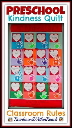 Kindness Quilt Rules in Preschool Child's Perspective! is part of Buddy bench - Kindness Quilt Rules in Preschool from the Child's Perspective at RainbowsWithinReach Preschool Projects, Preschool Themes, Preschool Lessons, Preschool Classroom, Preschool Art, Preschool Learning, Classroom Activities, In Kindergarten, Preschool Friendship Activities