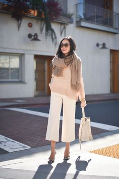 The It Girl - ways to wear culottes - sweater plus oversized scarf