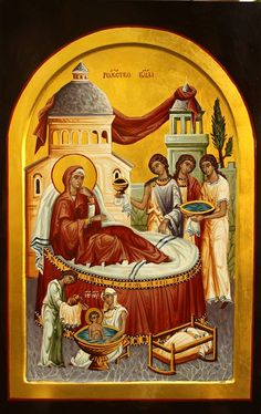 The Nativity of the Theotokos Religious Images, Religious Icons, Religious Art, Byzantine Icons, Byzantine Art, Middle Age Fashion, Best Icons, Day Book, Blessed Virgin Mary