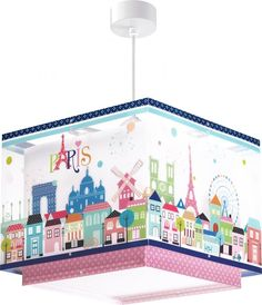 Paris εφηβικό φωτιστικό οροφής μεγάλο σε διάσταση και διπλό τοίχωμα Kids Lamps, Pvc, Paris, Four Square, Fair Grounds, Blog, Disney, Cluster Pendant Light, Pendant Lighting