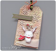 "Tag, Lesezeichen, Weihnachten | Christmas tag - Purple Onion Designs ""Fawn"", ""Happy Holidays"", Lawn Fawn ""Mini Snowflakes"", Tim Holtz ""Holiday Knit Stencil"", Copics"