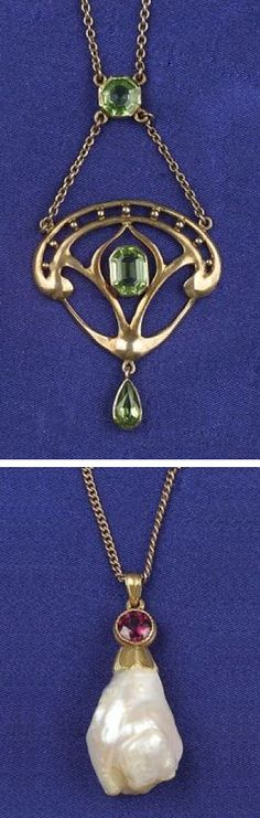 """Two Art Nouveau Gem-set Pendants, a 14kt gold, amethyst, and freshwater pearl pendant, suspended from an 18kt gold twisted curb link chain, and a 10kt gold pendant necklace set with peridots, signed """"DK"""", lg. 15 and 16 1/4 in."""