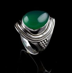 GREEN ONYX NATURAL GEMSTONE HANDMADE MENS RING SIZE 9 925 STERLING SILVER KJR213 #Unbranded