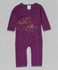 Look what I found on #zulily! Purple & Gold Elephant Organic Wrap Playsuit - Infant & Toddler #zulilyfinds