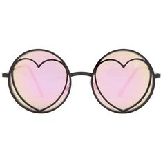 Betsey Johnson Women's Round With Heart Sunglasses ($20) ❤ liked on Polyvore featuring accessories, eyewear, sunglasses, glasses, black, mirror lens sunglasses, heart glasses, round glasses, mirrored glasses and heart sunglasses