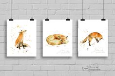 Three watercolor fox prints. This set of by TheDailyWatercolor