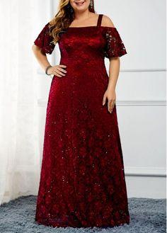 Plus Size Sequin Embellished Cold Shoulder Lace Dress Plus Size Dresses, Plus Size Outfits, Dresses For Sale, Plus Size Gala Dress, Evening Dresses Plus Size, Trendy Dresses, Cheap Dresses, Plus Size Kleidung, Spandex Dress