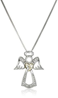 Sterling Silver and 14k Yellow Gold Angel White Diamond-Accent Pendant Necklace - http://www.womansindex.com/sterling-silver-and-14k-yellow-gold-angel-white-diamond-accent-pendant-necklace/