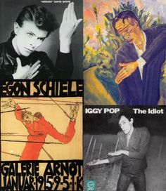 Heroes by David Bowie, Roquairol by Erich Heckel, The Idiot by Iggy Pop, Self-Portrait as St. Sebastian(poster design)by Egon Schiele  Although the inspiration for the cover of his album Heroes is sometimes attributed to Schiele, Bowie has cited German expressionist painter Erich Heckel in interviews. Still, this pose is reminiscent of many of Schiele's figures.