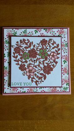 Stampin up kaart, Blooming Love.
