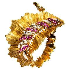 Retro Ruby Diamond Gold Leaf Brooch Pin | From a unique collection of vintage brooches at https://www.1stdibs.com/jewelry/brooches/brooches/