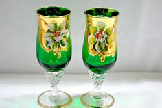Stemware  Crystal Green Emerald Gold Glasses by Dupasseaupresent