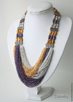 """Lavender Morning"" beaded strands, massive necklace, metal furniture, Tatonka, Tatiana"