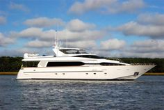 """102' Destiny """"Pushy""""  accommodates 10 guests in 5 staterooms with an on deck master. Twin 2800 HP 12V400 M90 MTU's with a Cruising Speed of 24 knots @ 1850 RPM, maximum speed 30 knots.  She had a $400,000 refit at the Rybovich yacht yard in the fall of 2010 with new AV systems, interior soft goods, electronics upgrades etc.  The Flybridge features a second helm, spacious seating, wet bar, grill, hot tub, two Wave runners and a tender. She carries 5425 gallons of fuel and 800 gallons of…"""