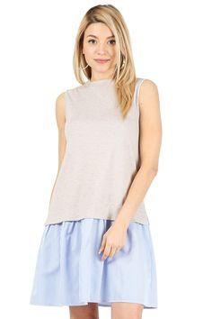 Womens Sleeveless Low Waist Above Knee Shift Dress with Stripe Ruffle Hem Reg. and Plus Size - Made in USA