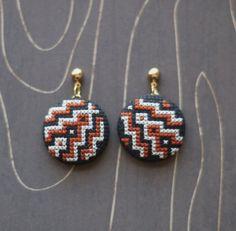Art deco modern geometric cross stitch earrings by TheWerkShoppe, $38.00