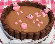 Chocoladetaart met varkentjes