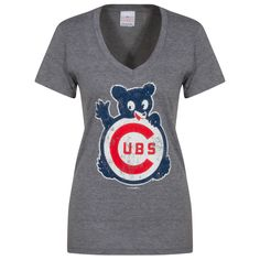 Chicago Cubs Women's Grey Distressed Waving Bear V-Neck Tee by 5th & Ocean #Chicago #ChicagoCubs #Cubs