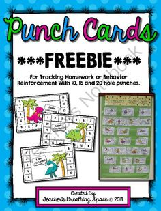 Punch Cards for Homework / Behavior Reinforcement / Rewards ***FREEBIE*** from Teacher's Breathing Space on TeachersNotebook.com -  (6 pages)  - Punch Cards for Homework / Behavior Reinforcement / Rewards ***FREEBIE***