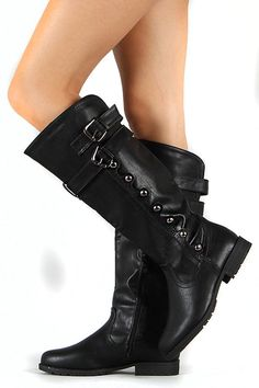 Faux Leather Studded Buckled Riding Knee Boots