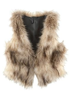 Beige Collarless Loose Thick Imitated Furs Vest - Vests - Tops