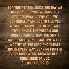 Colossians 1:9-10